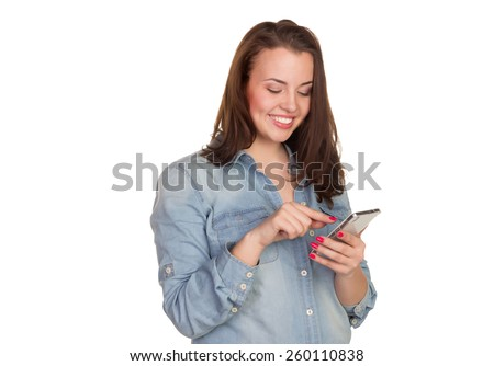 girl with mobile phone on a white background