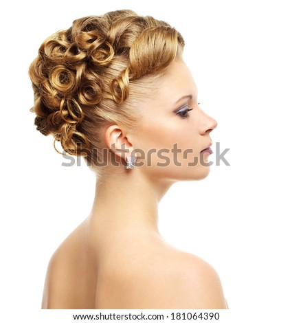 Girl with modern hairstyle isolated on a white background