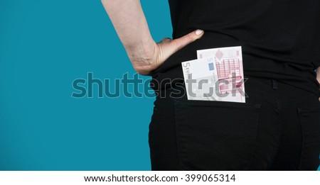 Girl with money. - stock photo