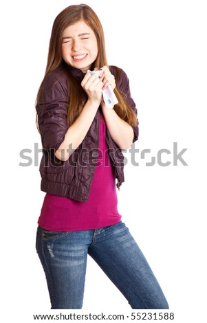 Girl with money in hands. Isolated on white background - stock photo