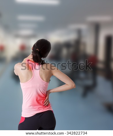 girl with muscular pain of injury - stock photo