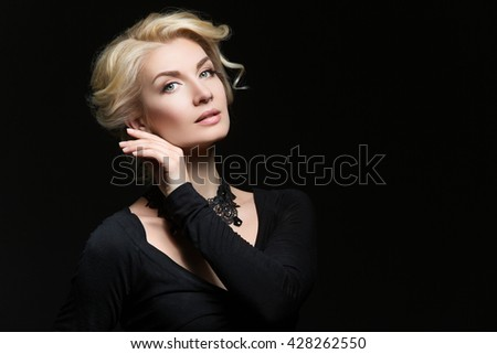 Girl with natural makeup and hairdo - stock photo