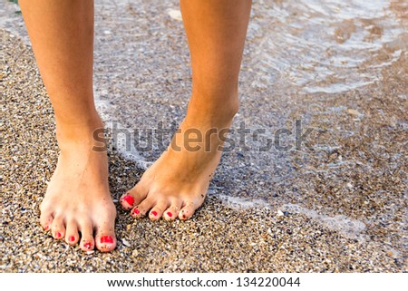 Girl With Nice Feet Has Hydrophobia Fear Of Water - stock photo