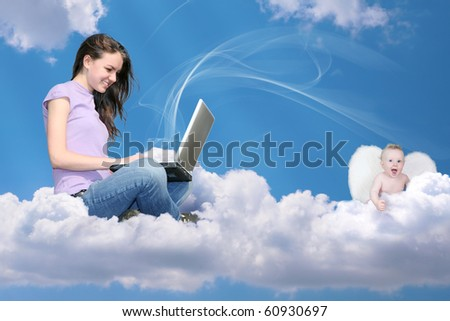girl with notebook on cloud and little angel collage - stock photo