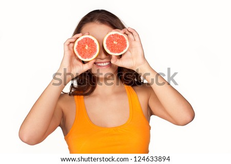 Girl with orange on white background