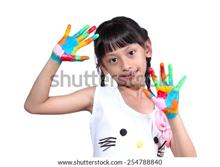 Girl with paint on white background - stock photo