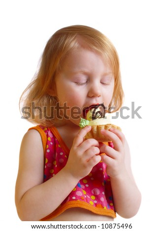 girl with pastry  isolated on white
