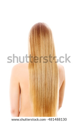 Girl with perfect long shiny blond hair.