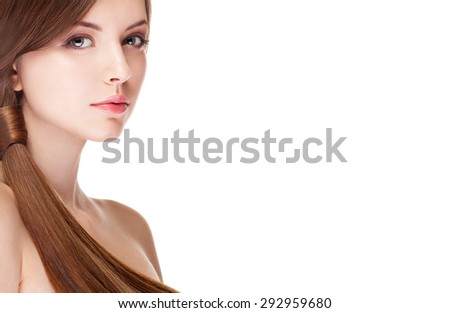 Girl with perfect skin isolated over white background. Studio shooting. Make up and beauty. Fashion and glamour. Hairstyle and healthy perfect skin - stock photo
