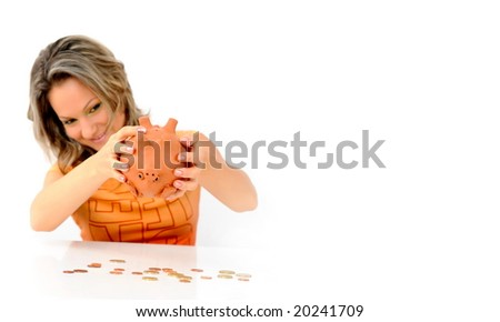girl with piggy bank against white
