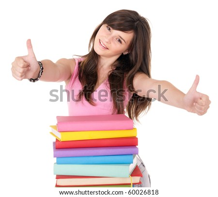 Girl with pile book showing thumb up. Isolated.