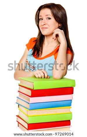 Girl with pile color books. Isolated
