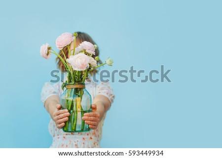 blue ranunculus flowers gift beautiful ranunculus female hands stock photo