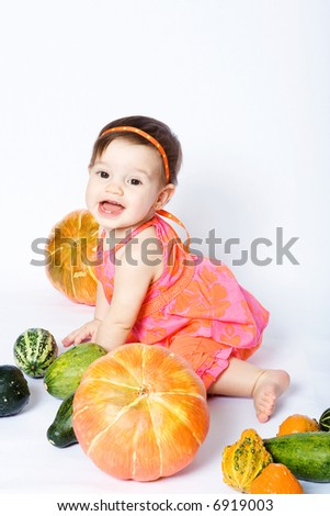 Girl with pumpkins (2)
