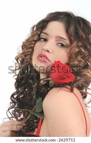 girl with rose - stock photo