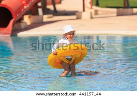 girl with rubber ring in the swimming pool