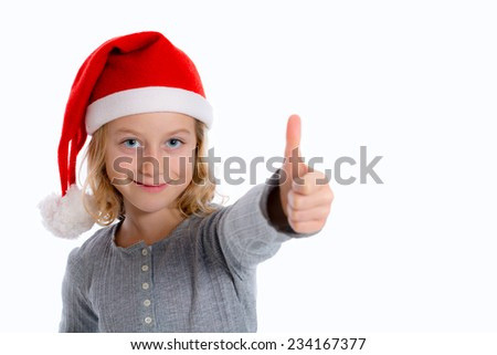 girl with Santa- cap and thumb up