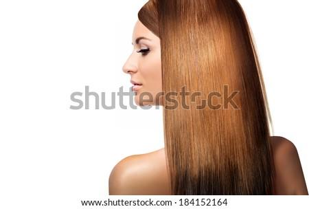 girl with shining laminated hair - stock photo