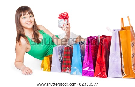 girl with shopping and a gift
