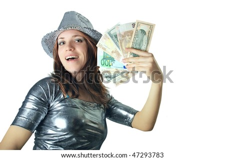 Girl with silver hat holding money isolated on white