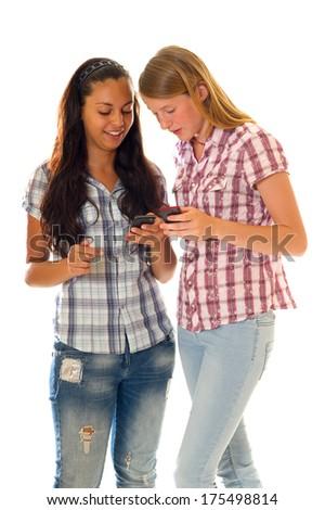 girl with smartphone - stock photo