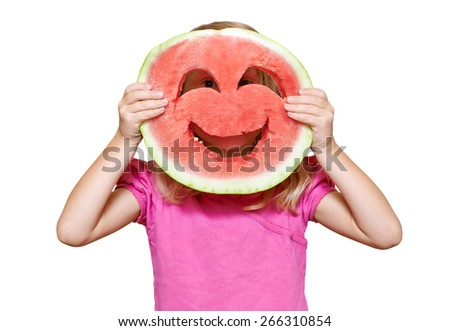 Girl with smiley of watermelon. Isolated on white - stock photo
