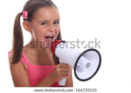 Girl with speaker - stock photo