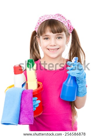 girl with spray and bucket in hands ready to help with cleaning. isolated on white background - stock photo