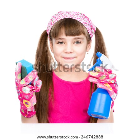 girl with spray in hand ready to help with cleaning. isolated on white background - stock photo