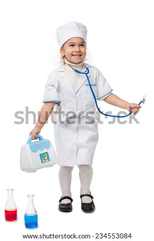Girl with stethoscope playing in a doctor, isolated on white