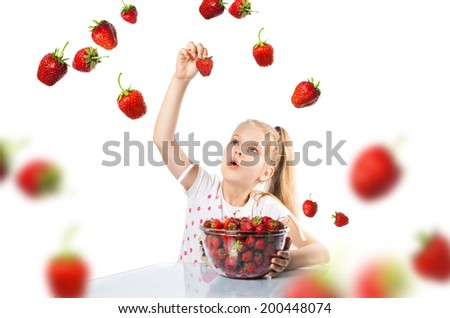 girl with strawberries on a white background - stock photo