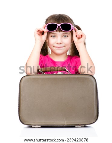 Girl with suitcase. isolated on white background - stock photo