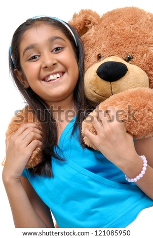 Girl with Teddy-bear in an embrace