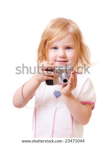 girl with the camera isolated on  white