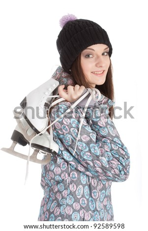 girl with the skates isolated under the white background