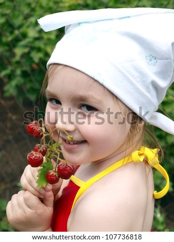 girl with the strawberry - stock photo