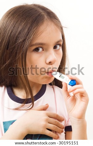 Girl with thermometer on white