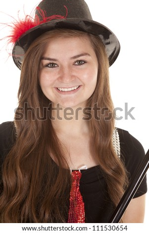 girl with top hat smile - stock photo