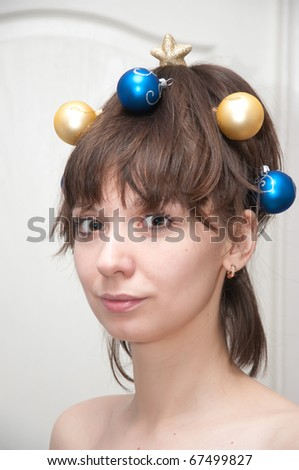 girl with toys in her hair - stock photo