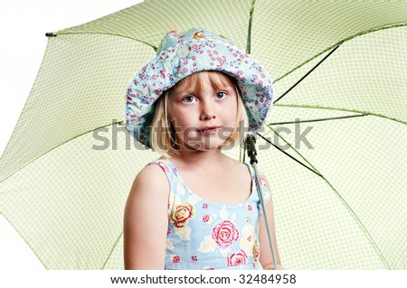 girl with umbrella on white background - stock photo
