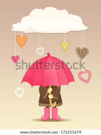 Girl with umbrella under the cloud with abstract hanging hearts
