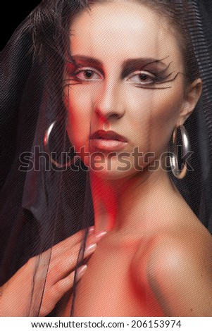 Girl with vale and gothic professional make up. Studio lighting. Beautiful goth woman - stock photo