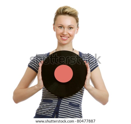 girl with vinyl disc closeup - stock photo