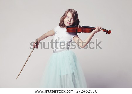 Girl with violin on white background - stock photo