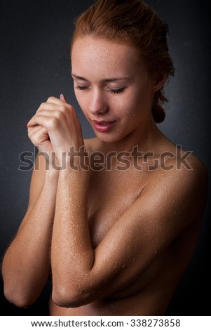 girl with water drops on the skin