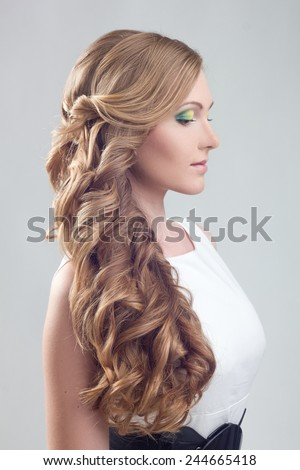 Girl with wedding hairstyle - stock photo