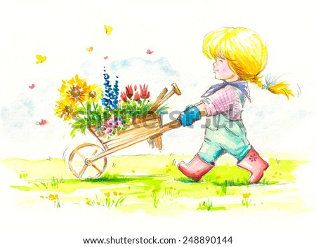 Girl with wheelbarrow full of flowers is going to her garden. Picture created with watercolors. - stock photo