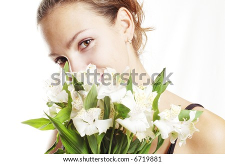 Girl with white flowers