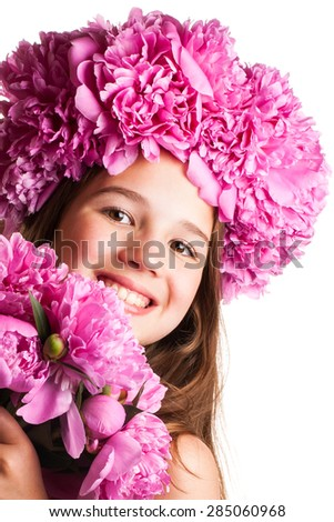 Girl with wreath of pink flowers on an isolated white background