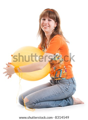 Girl with yellow balloon isolated at the white background